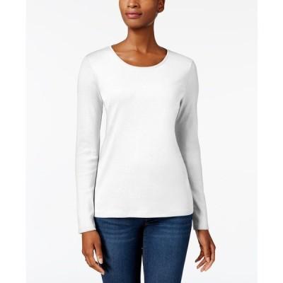 チャータークラブ カットソー トップス レディース Pima Cotton Long-Sleeve Top, Created for Macy's Bright White
