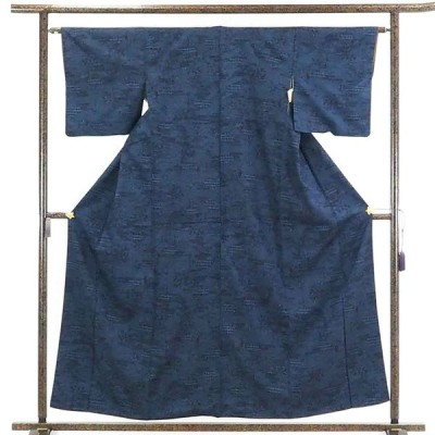 リサイクル着物 紬 正絹黒地紺絣袷真綿紬着物