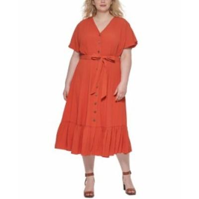 カルバンクライン レディース ワンピース トップス Plus Size Ruffle-Hem A-Line Dress Spicy Orange