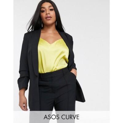 エイソス ASOS Curve レディース スーツ・ジャケット アウター ASOS DESIGN Curve mix & match suit blazer ブラック