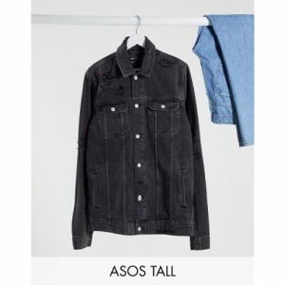 エイソス ASOS DESIGN メンズ ジャケット Gジャン ウォッシュ加工 アウター Tall denim jacket in washed black with rips ブラック