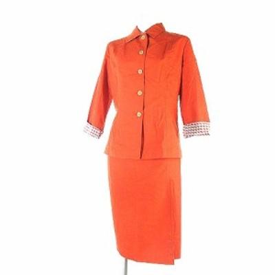 【中古】シールズピュアフォルム スーツ セットアップ リネン混 ジャケット 七分袖 スカート オレンジ 2 レディース