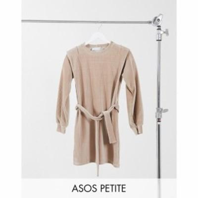 エイソス ASOS DESIGN レディース ワンピース ミニ丈 ワンピース・ドレス Petite cord mini dress with shoulder detail in camel キャメ