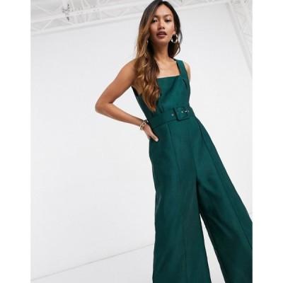 エイソス ASOS DESIGN レディース オールインワン キュロット ジャンプスーツ Asos Design Square Neck Belted Culotte Jumpsuit In Dark Green ダークグリーン