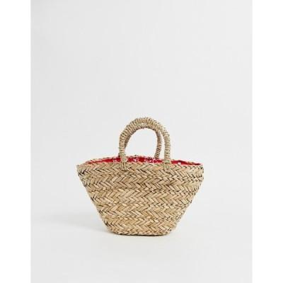 エイソス レディース  トートバッグ バッグ ASOS ASOS DESIGN natural straw mini basket bag with bandana print lining