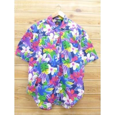 古着 レディース 半袖 シャツ 90年代 花 大きいサイズ 紫他