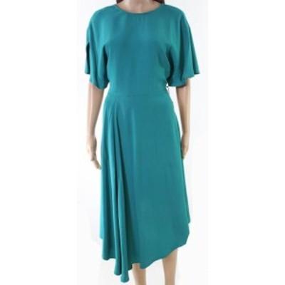 ファッション ドレス Lewit Womens Blue Size 12 Flutter Sleeve V-Back Crepe A-Line Dress