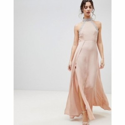 エイソス ASOS DESIGN レディース ワンピース マキシ丈 ワンピース・ドレス ASOS Embellished Trim Backless Maxi dress ヌードカラー