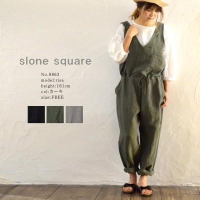slone square ベルギーリネン オールインワン スロンスクエア 3色 ネコポス不可 8863