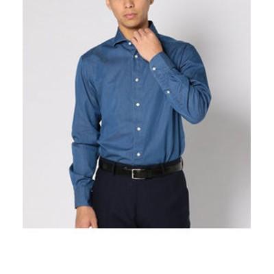 SD:【テレワーク対応可能】ウォッシュド インディゴ ソリッド シャンブレー ホリゾンタルカラー シャツ