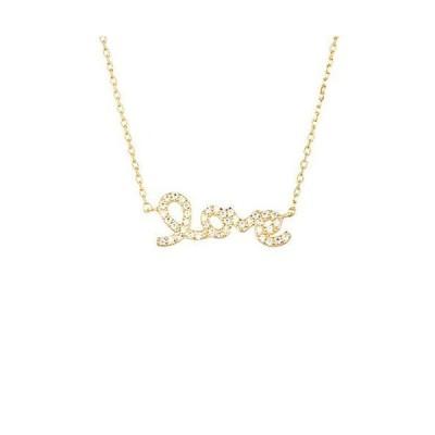 レディース アクセサリー  Silver Mama 14K Over Silver Cursive Love Necklace