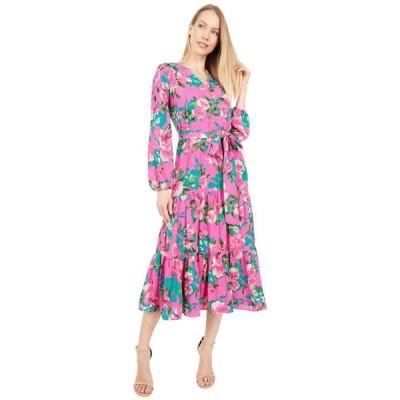 タハリ レディース ワンピース トップス Printed Long Sleeve Surplus Mock Wrap Dress with Flounce Hem