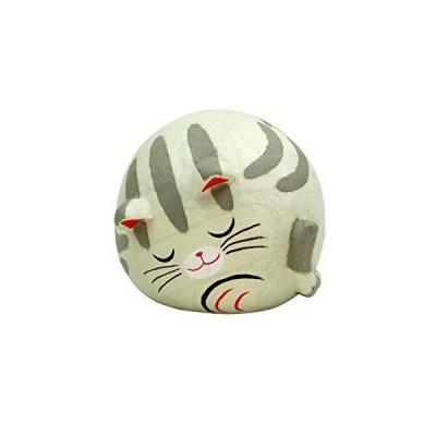 大阪 長生堂 置物 招き猫 かわいい すやすや親猫(サバ) ちぎり和紙 開運グッズ オリジナル木札サービス付