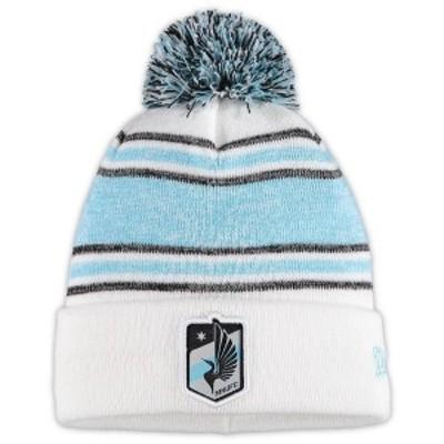 ニューエラ メンズ 帽子 アクセサリー Minnesota United FC New Era Bobble Cuffed Knit Hat with Pom White