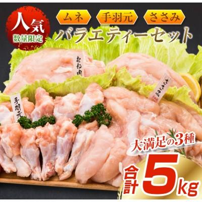 鶏肉≪大満足の3種≫ムネ・手羽元・ささみバラエティーセット(合計5kg)