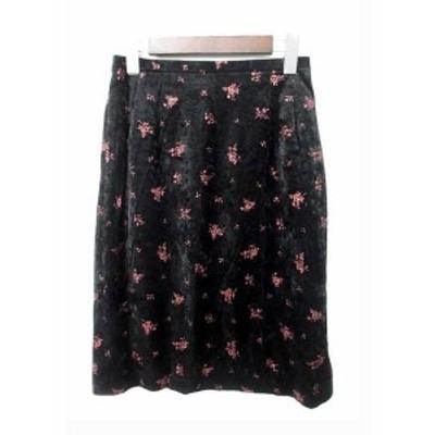【中古】イネド INED スカート 2 M 黒 ブラック ピンク ポリエステル ひざ丈 花柄 ラメ ベロア フレア サイドスリット
