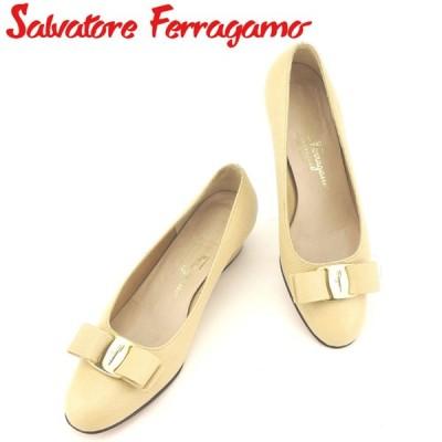 サルヴァトーレ フェラガモ パンプス シューズ 靴 ♯5ハーフB リザード調 ヴァラリボン Salvatore Ferragamo 中古