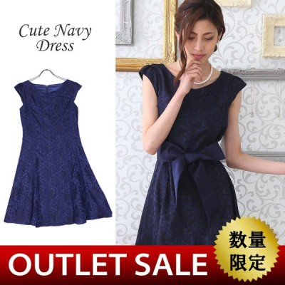【56%OFF!】結婚式 二次会 袖あり ドレス|レース素材のフレアドレス9号(ネイビー)