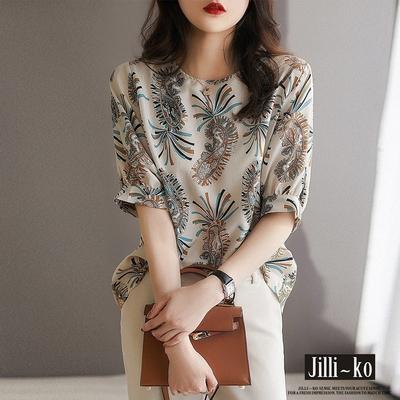 JILLI-KO 復古佩斯利印花小衫- 杏色