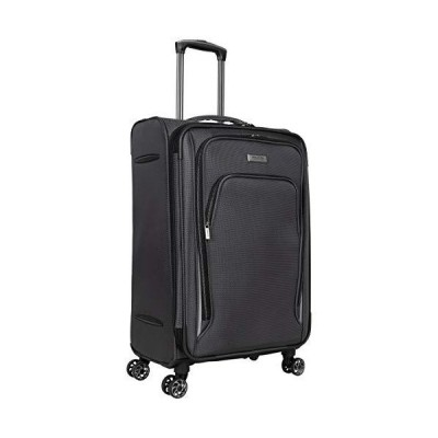 "Kenneth Cole Reaction Cloud City 24"" Lightweight Softside Expandable 8-Wheel Spinner Checked Travel Luggage, Charcoal, inch【海外平行"
