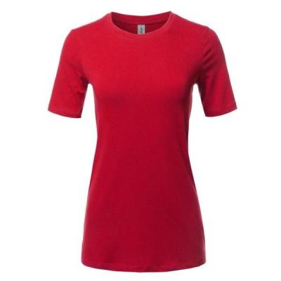 レディース 衣類 トップス A2Y Women's Basic Solid Premium Cotton Short Sleeve Crew Neck T Shirt Tee Tops Ruby S Tシャツ