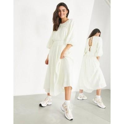 エイソス レディース ワンピース トップス ASOS EDITION smock dress with seam details in cream Cream
