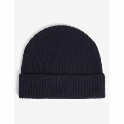 ジョンストンズ JOHNSTONS メンズ ニット カシミア ニットキャップ 帽子 Ribbed Cashmere Beanie Hat NAVY