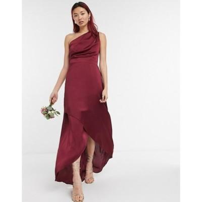 ティエフエヌシー レディース ワンピース トップス TFNC Bridesmaid one-shoulder maxi dress in burgundy