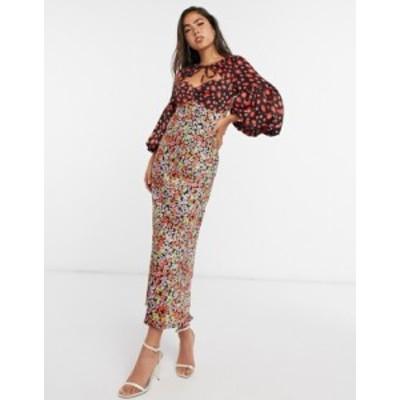 エイソス レディース ワンピース トップス ASOS DESIGN satin sweetheart tie neck maxi dress in mixed floral print Dark based floral