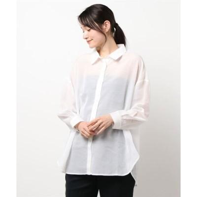 シャツ ブラウス 柔らかな透け感。シアーオーバーシャツ