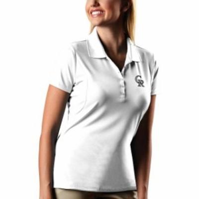 Antigua アンティグア スポーツ用品  Antigua Colorado Rockies Womens White Pique Xtra-Lite Polo