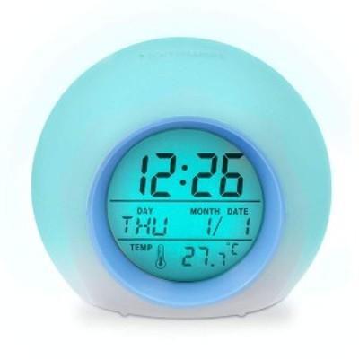 目覚まし時計 置き時計 改良品 デジタル 時計 アラーム 見やすい 多機能 8種類サウンド 七色バックライト 温度カレンダー表示 置き時計