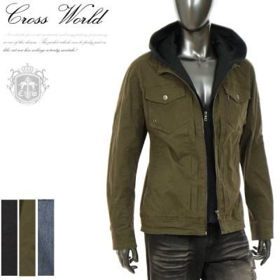 シャツジャケット メンズ 重ね着風 フェイクフードブルゾン おしゃれ ライトアウター ストリート ビター系 2020年新作 秋 カーキ ブラック I021022-04IF