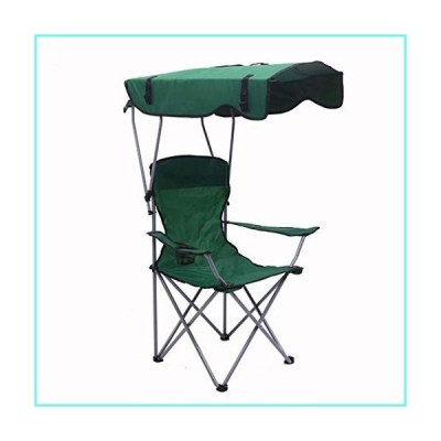 Camp Chairs with Shade Canopy Folding Chair Fold Fishing Chiar for Outdoor Beach Camping Park Patio Support 380 LBS (Dark Green)並行輸入