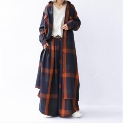ワンピース セットアップ コート ロングシャツ パンツ レディース 40代 長袖ワンピース チェック柄 大きいサイズ 通勤 30代 上品 2点