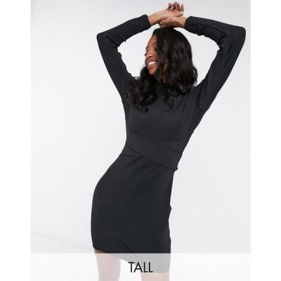 ミスガイデッド Missguided Tall レディース ワンピース ワンピース・ドレス cut out back bandage dress in black ブラック