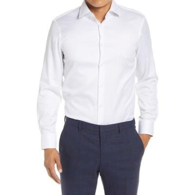 ヒューゴ ボス BOSS メンズ シャツ トップス Marley Slim Fit Easy Iron Solid Dress Shirt White