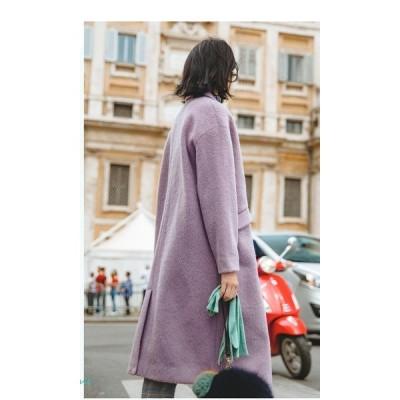 ロング丈 コート シンプル ゆったり 大人 カジュアル 2色