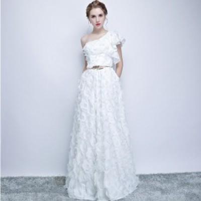 イブニングドレス ワンショルダー 花嫁ドレス Aライン パーティードレス 披露宴 お呼ばれ 二次会 ロングドレス 発表会 結婚式 XXS~3XL