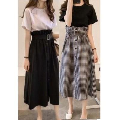 セットアップ 2点セット カットソー スカートスカート マキシ丈 カットソー Tシャツ 大きいサイズ