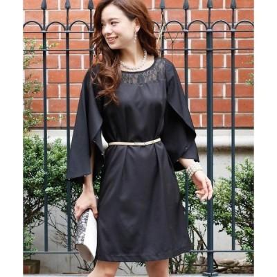 ドレス 結婚式ワンピースドレスフラワースリーブミニ丈&七分袖大きいサイズフォーマル