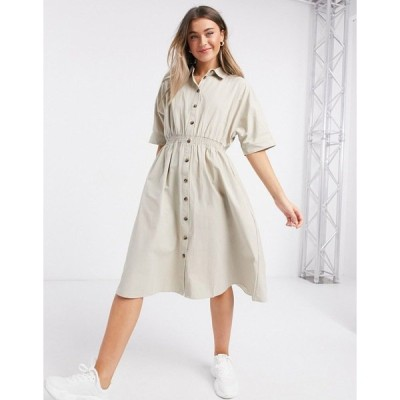 QEDロンドン レディース ワンピース トップス QED London shirt midi dress in stone Stone