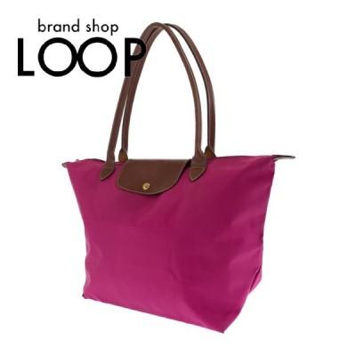 Longchamp ロンシャン サブバッグ 折り畳み ピンク ブラウン ナイロン/レザー トートバッグ  ショルダーバッグ レディース 101839 中古