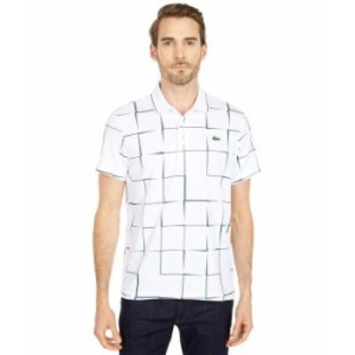 ラコステ メンズ シャツ トップス Short Sleeve  Sport All Over Square Print Polo White/Green