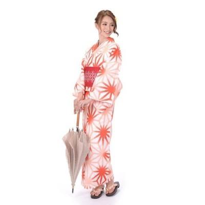 ゆかた 女性 3点セット hiromichi nakano 吸水速乾 ポリエステル 白地に麻の葉