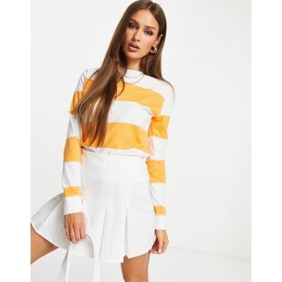 ユニークトゥエンティワン レディース シャツ トップス Unique21 striped sweatshirt in white and orange