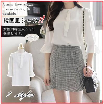 シフォン ゆったり 韓国風 7分袖 ホワイト カジュアル 綺麗め ベルスリーブ 丸首 レディース シャツ