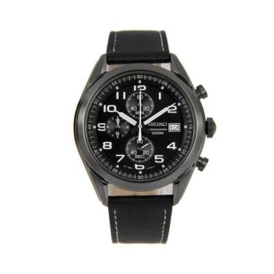 腕時計 セイコー Seiko SSB277P1 Men's Black Dial Black Strap Chronograph Watch