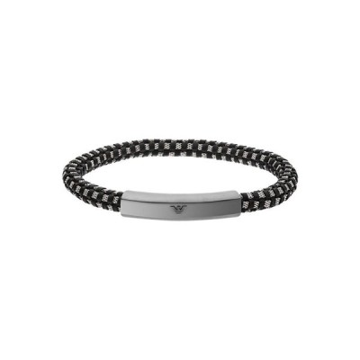 アルマーニ Armani メンズ ブレスレット ジュエリー・アクセサリー EmporioStainless Steel ID Bracelet Black