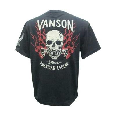 Tシャツ vanson バンソン スカル ファイアー 半袖 NVST-2014 黒 L寸